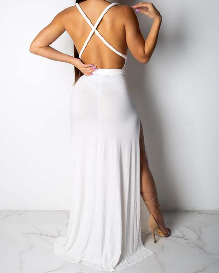 Multi-Way Crisscross Backless Thigh Slit Maxi Dress