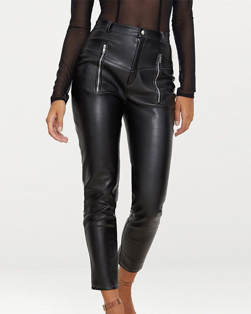 Faux Leather Zipper Design Pant