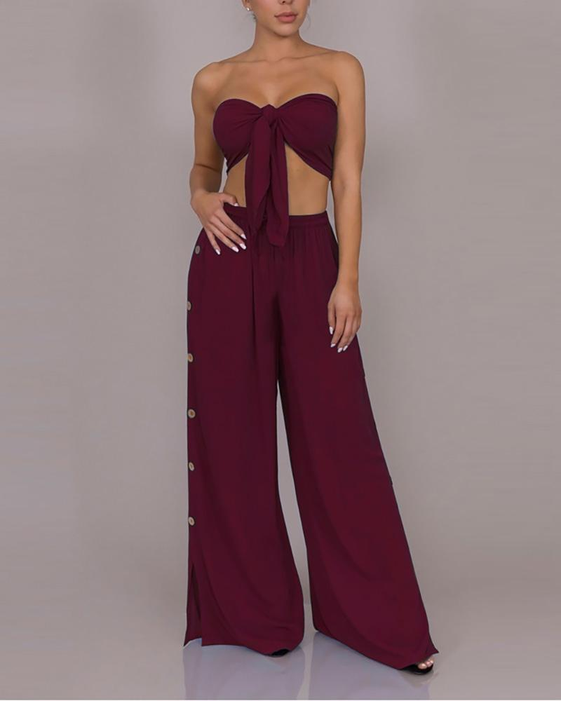 Knotted Tube Top & Buttoned Slit Leg Set