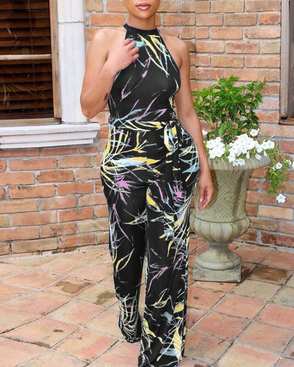 Halter Sleeveless Print Jumpsuit