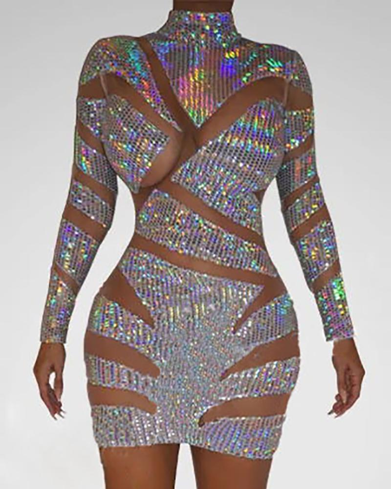 Sheer Mesh Patchwork Sequin Dress