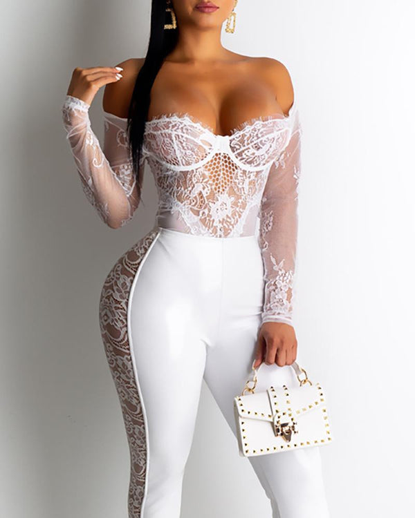 Solid Hollow Out Lace Pu Pants