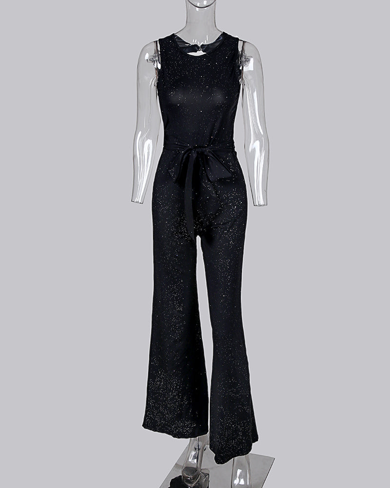 Glitter Round Neck Sleeveless Wide Leg Jumpsuit