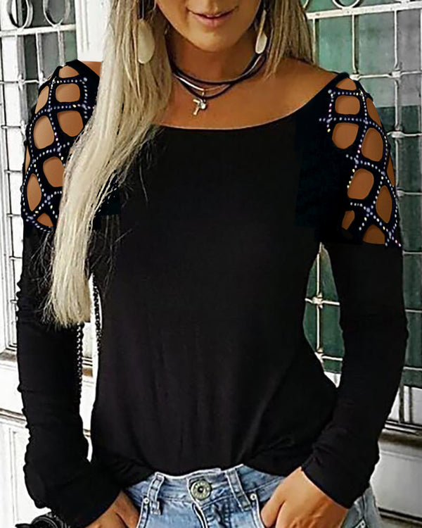 Studded Hollow Out Long Sleeve Top