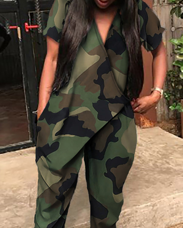 V Neck Camouflage Print Casual Jumpsuit