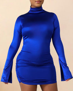 Solid Slit Sleeve Zipper Back Bodycon Dress
