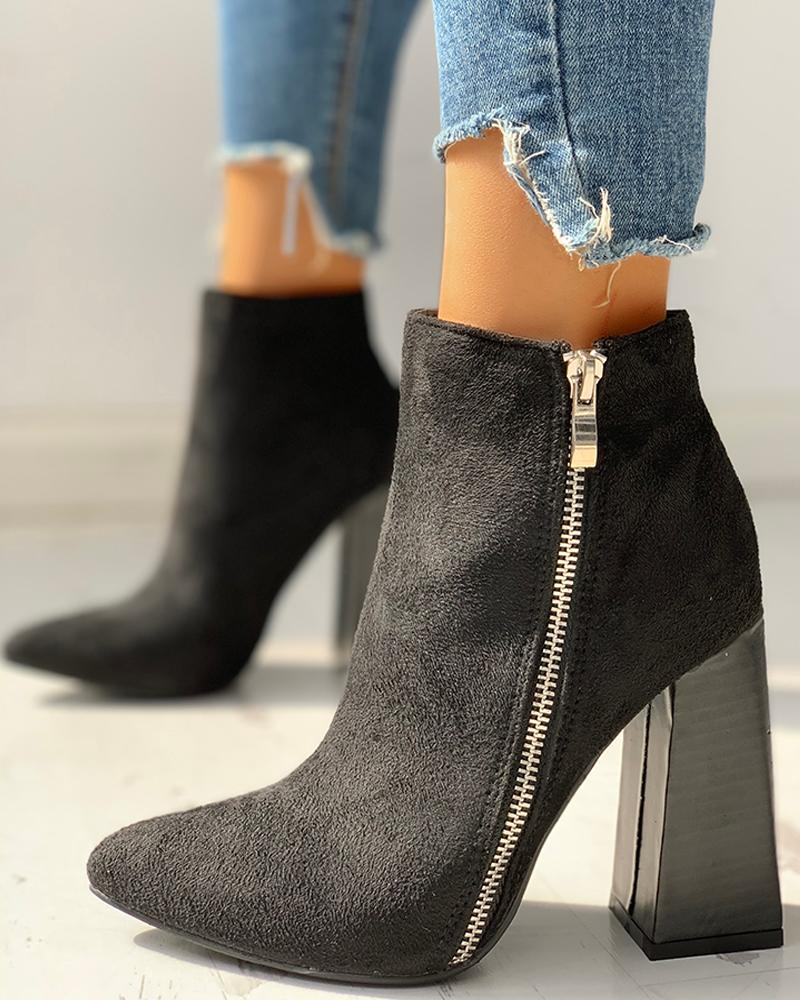 Velvet Zipper Design Chunky Heeled Ankle-Boots