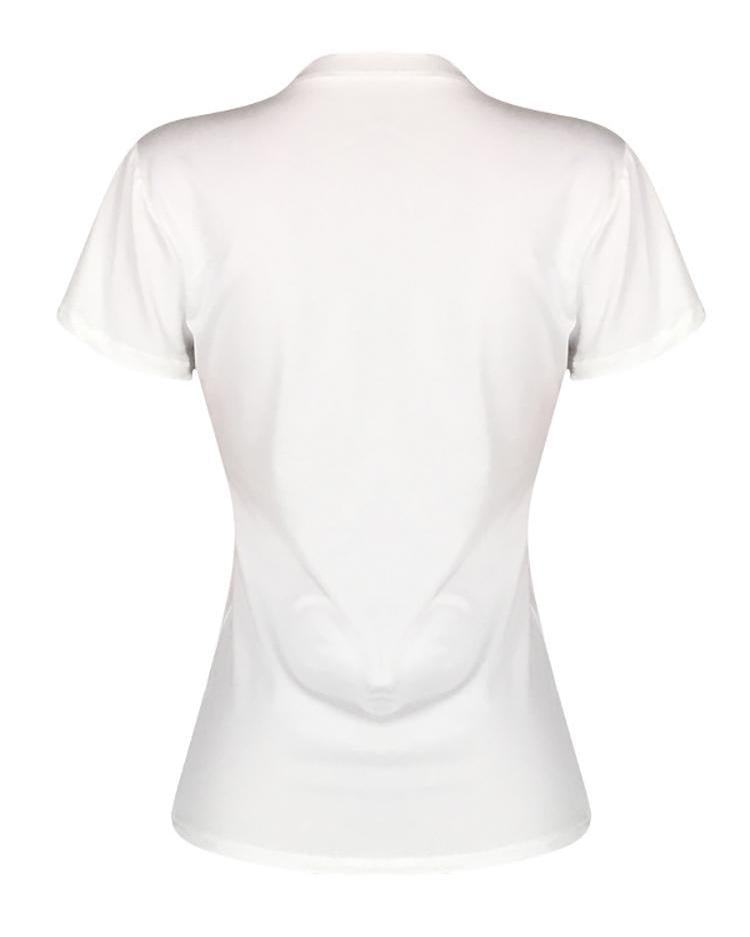 Printed Short Sleeve White T-shirt