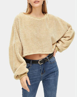 Solid Batwing Sleeve Cropped Sweatshirt