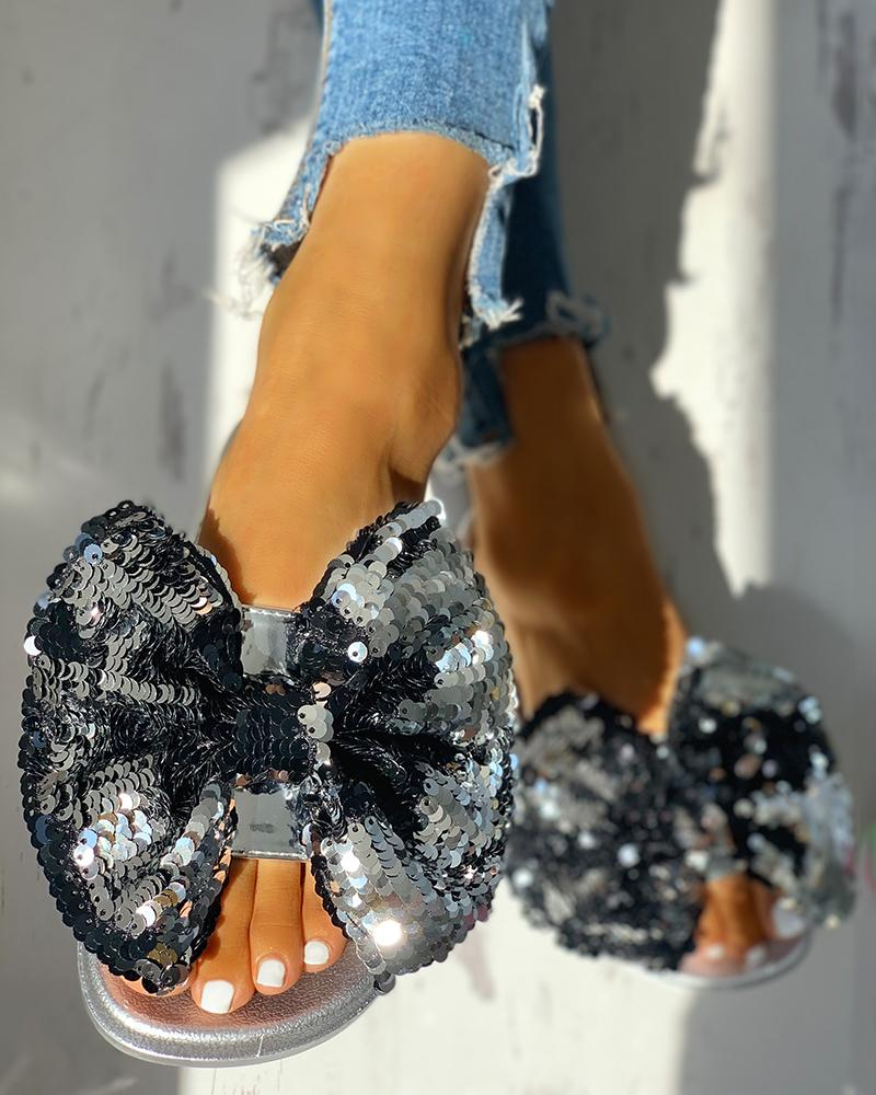 Sequin Bowknot Design Open Toe Sandals