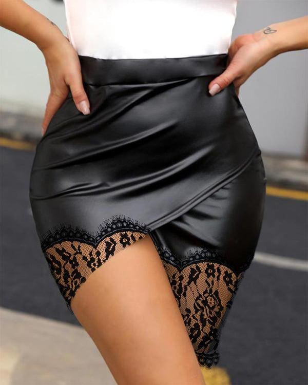 Faux Leather Mesh Lace Hem Skirt