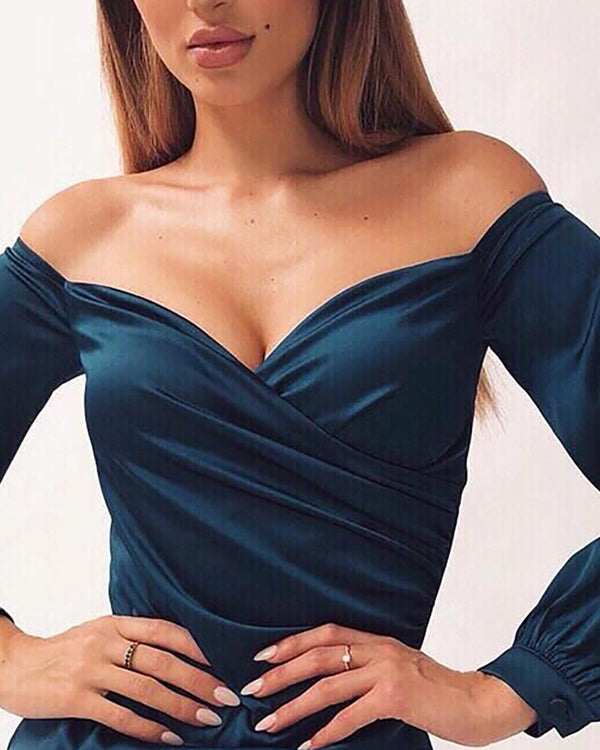 Off Shoulder Surplice Wrap Ruched Bodycon Dress