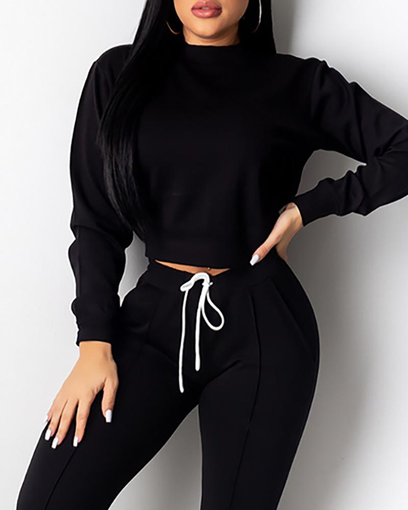 Solid Long Sleeve Top & Drawstring Design Sporty Pants Sets