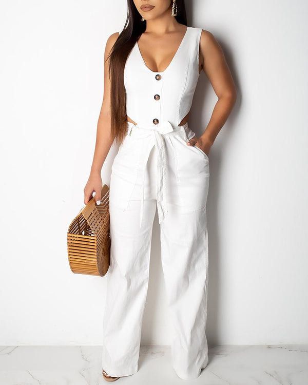Deep V Neck Button Wide Leg Jumpsuit
