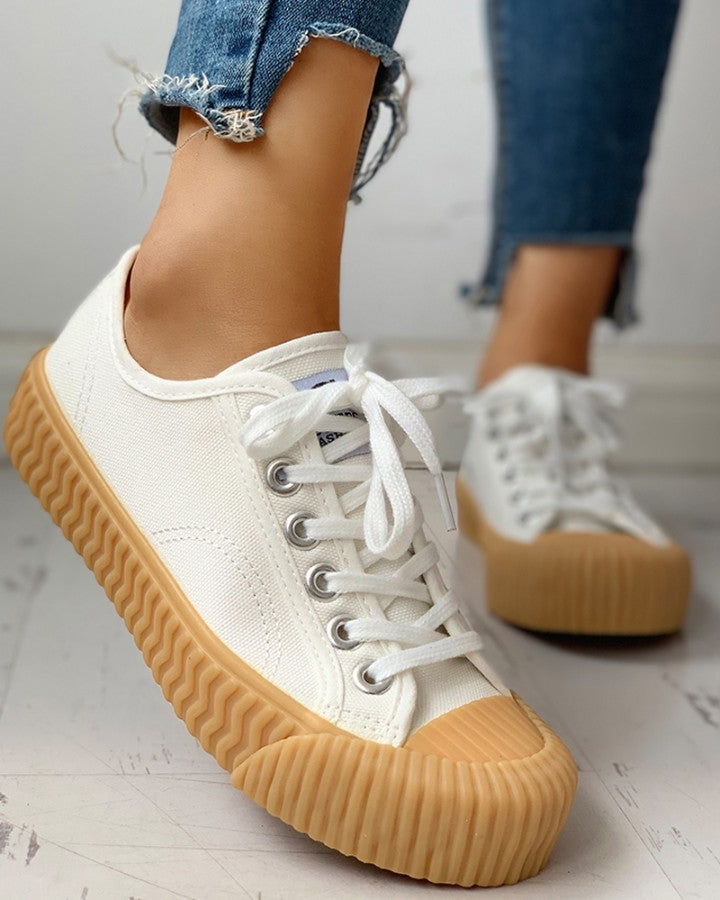 Eyelet Lace-Up Casual Sneakers