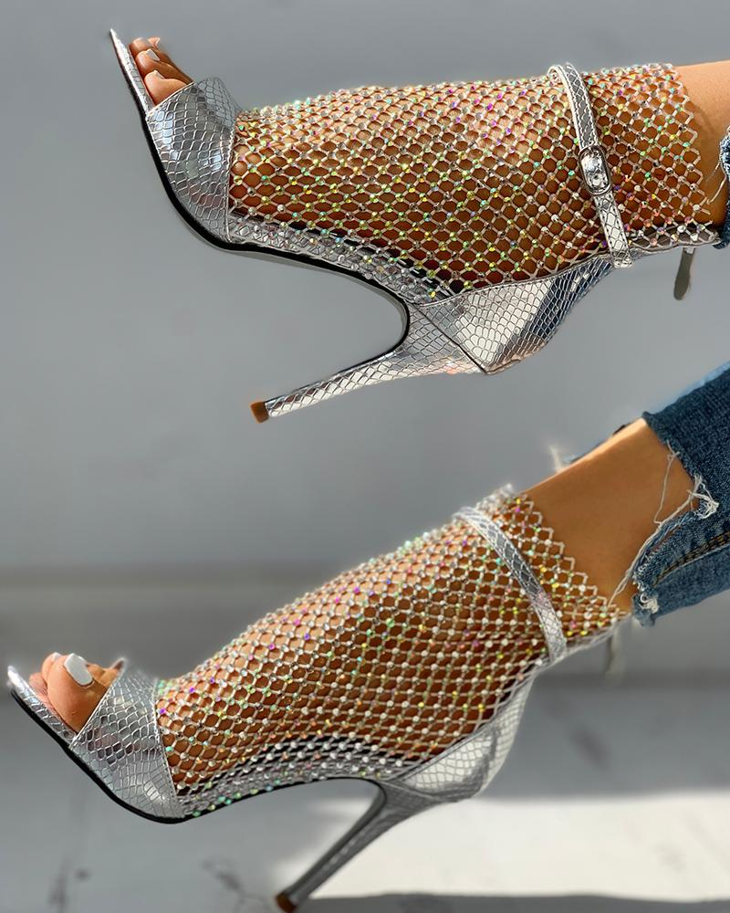 Studded Grid Mesh Open Toe Thin Heels