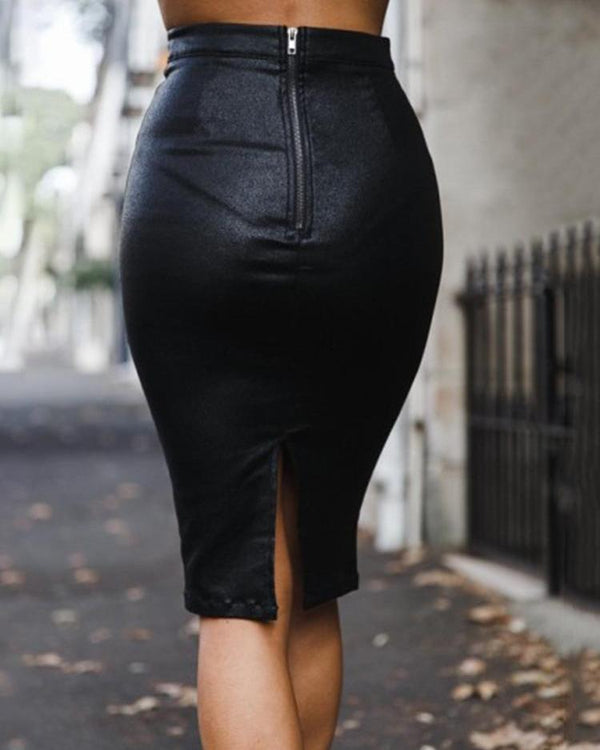 High Waist Zipper Back PU Skirt