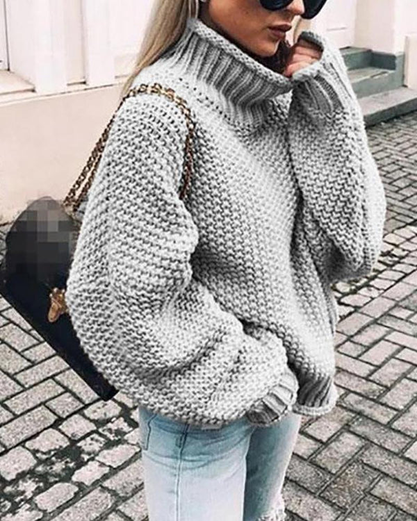 Dolman Sleeve Loose Knitted Sweater