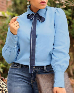 Denim Bowknot Design Buttoned Blouse