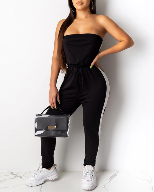 Solid Colorblock Drawstring Design Tube Jumpsuit