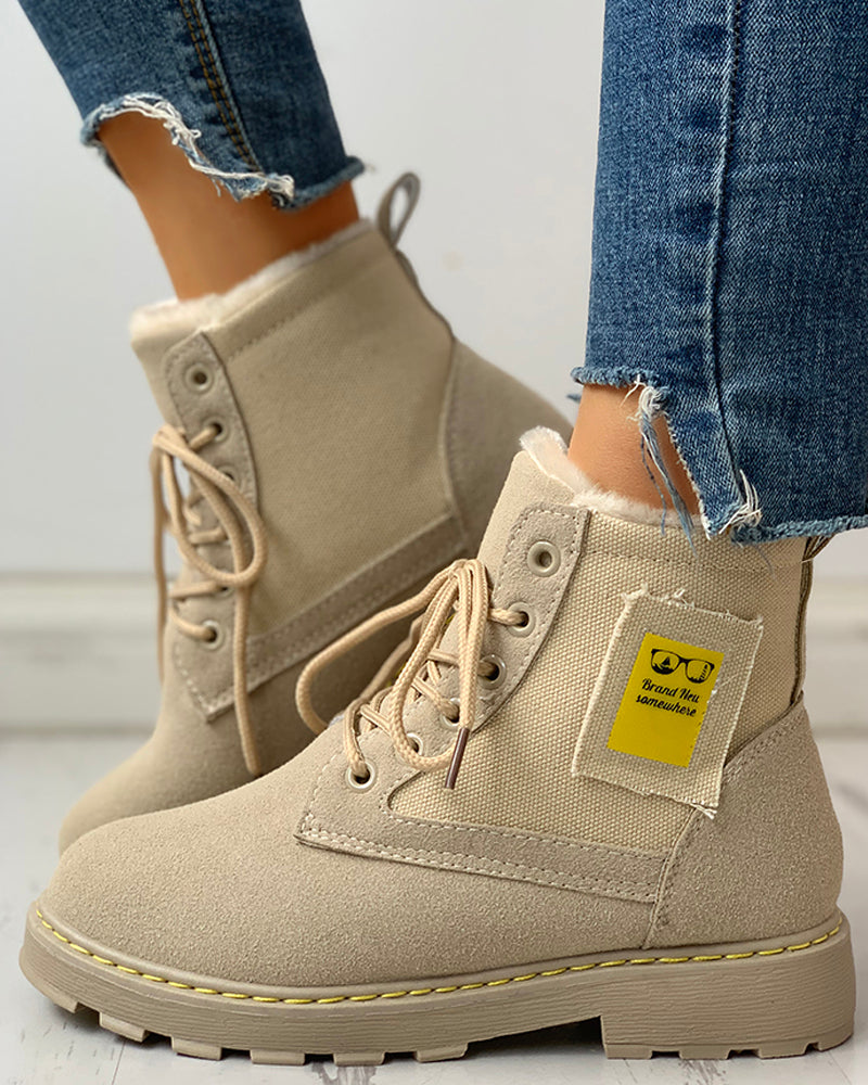 Eyelet Lace-Up Ankle-Boots