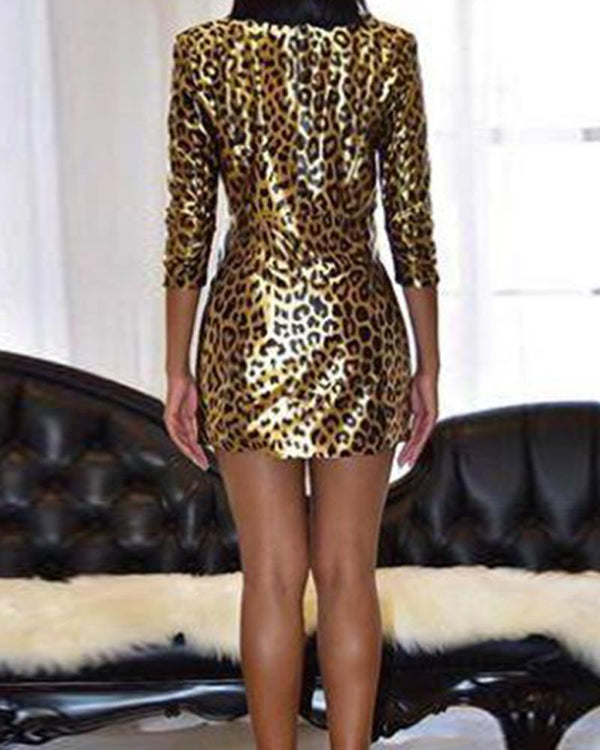 Leopard Print Wrap Mini Dress