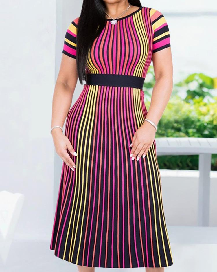 Colorful Striped Print Short Sleeve Dress