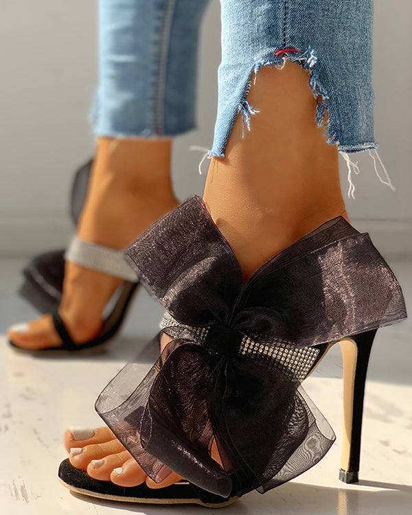 Suede Strap Bandage Bowknot Thin Heeled Sandals