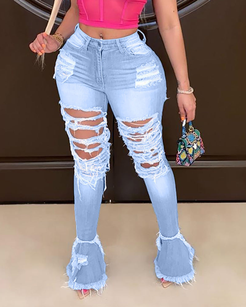Ripped Tassel Denim Casual Pants