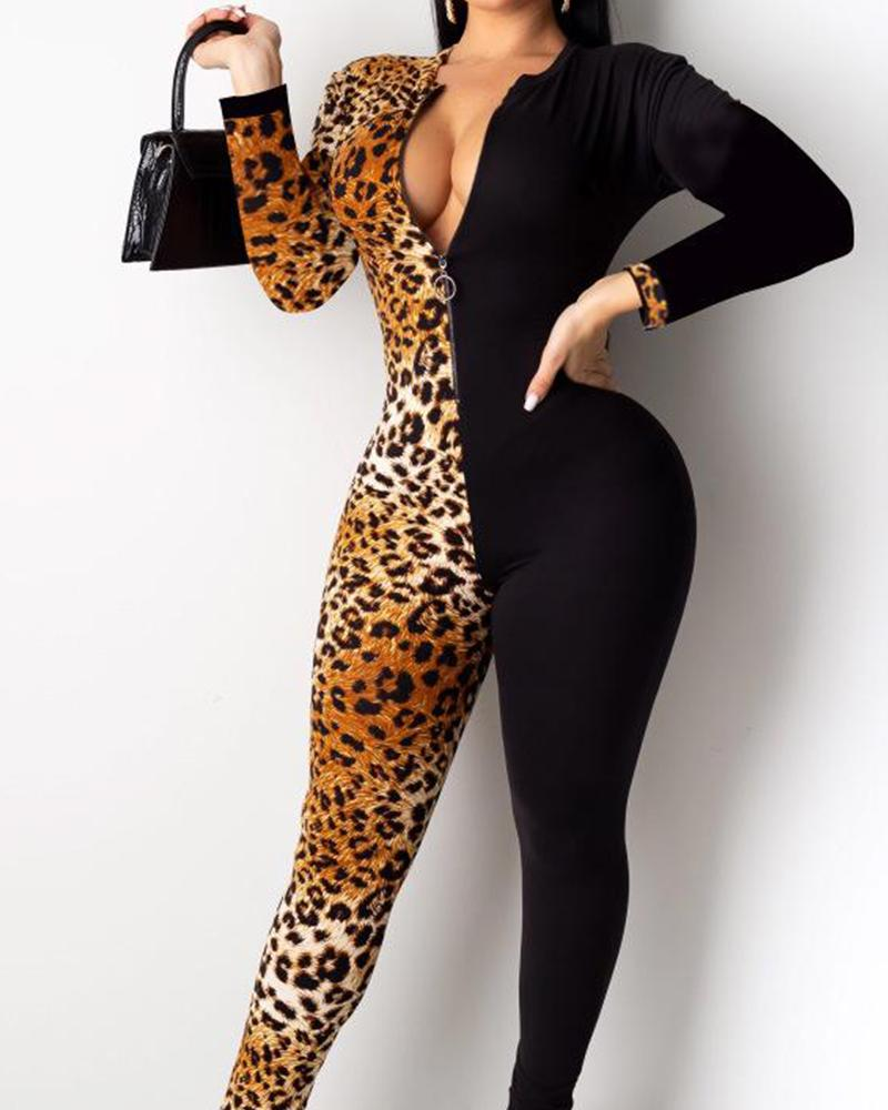 Notched Neck Leopard Contrast Jumpsuit