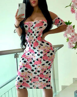 Print Low Cut Bodycon Dress