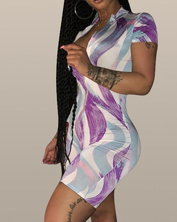 High Stretch Printed Zipper Romper