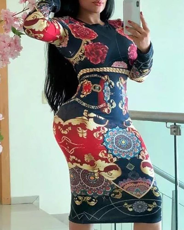 Long Sleeve Mixed Print Bodycon Dress