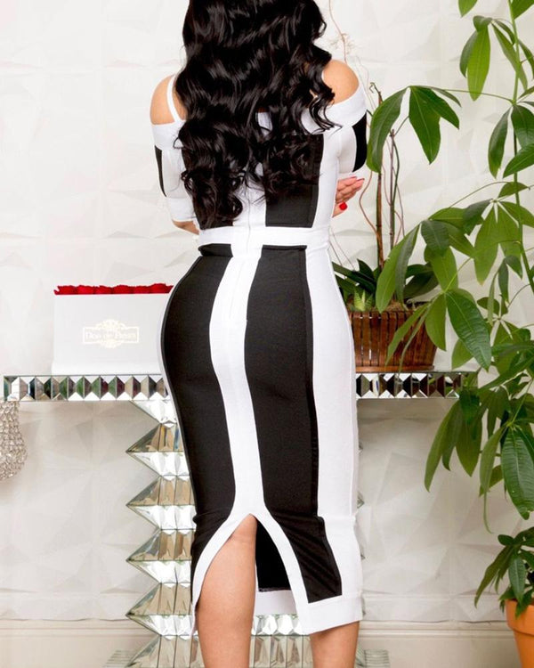 Colorblock Half Sleeve Bodycon Slit Dress