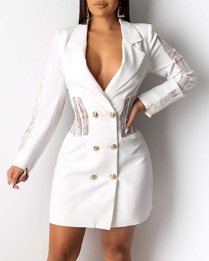 Notched Collar Lace Insert Long Sleeve Double-breasted Blazer Dress