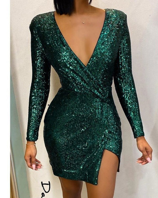 Glitter V-Neck Long Sleeve Slit Sequins Bodycon Dress
