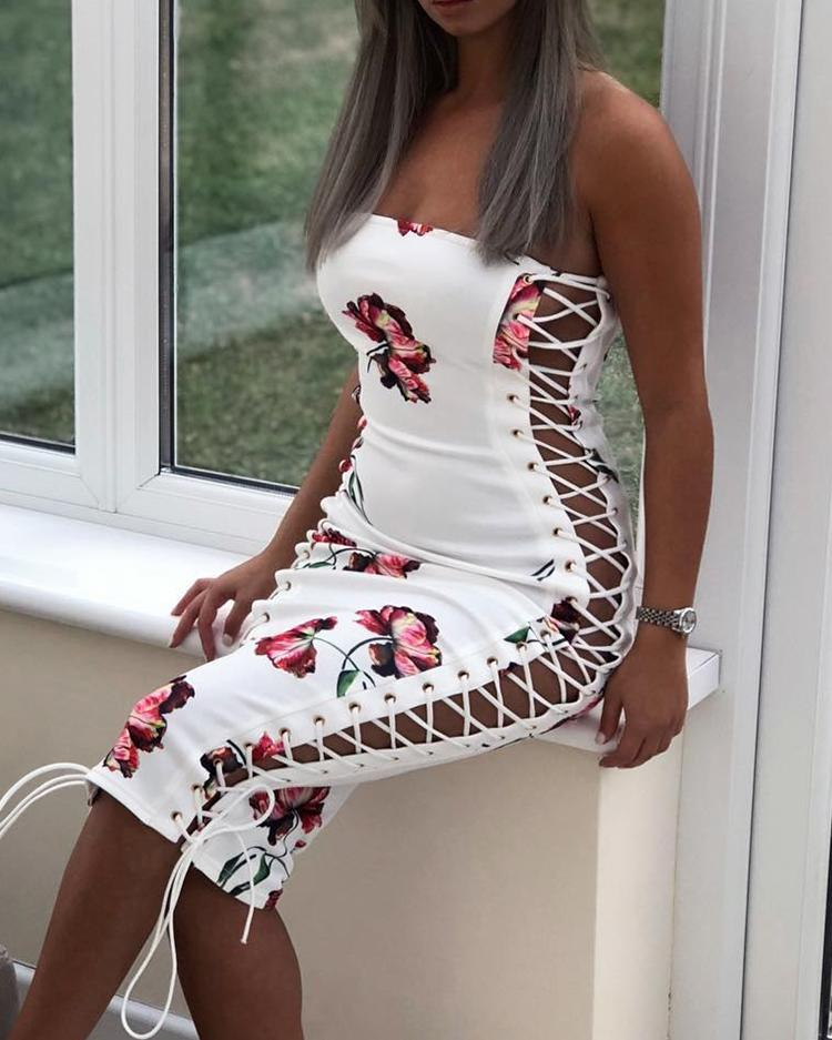 Floral Lace-Up Side Strapless Bodycon Dress