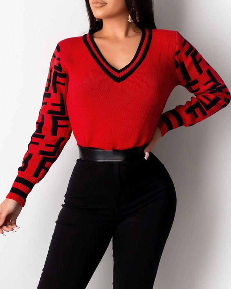 Colorblock V-Neck Striped Knitting Sweater