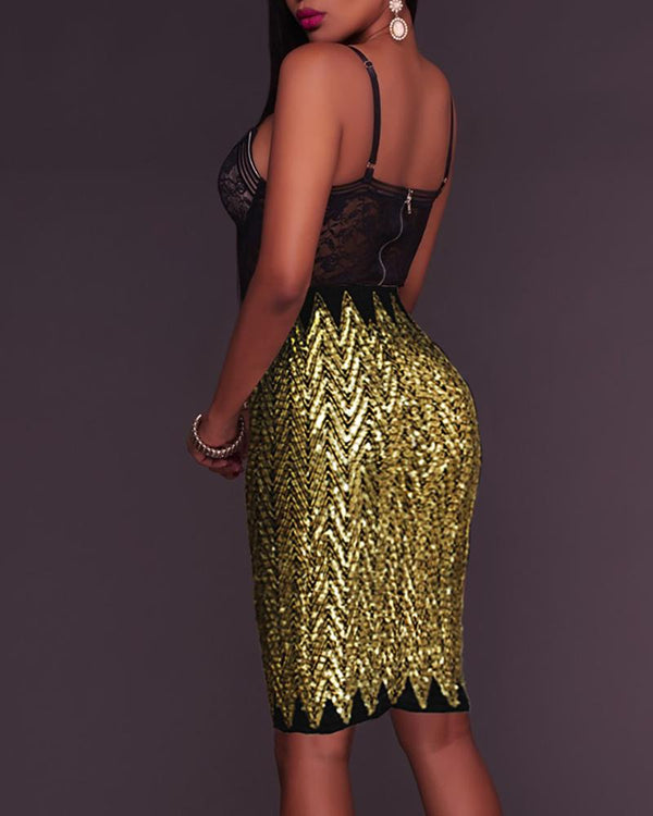 Glitter Waved Sequins Skirt