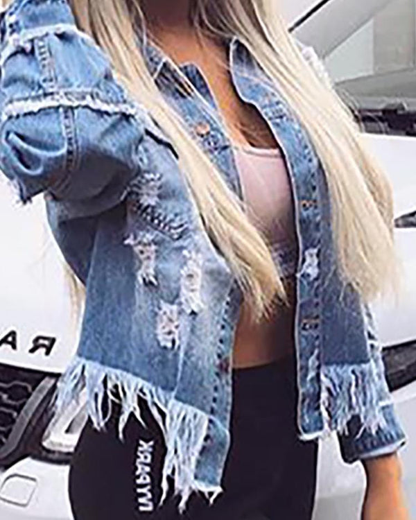 Denim Distressed Fringes Pocket Design Coat