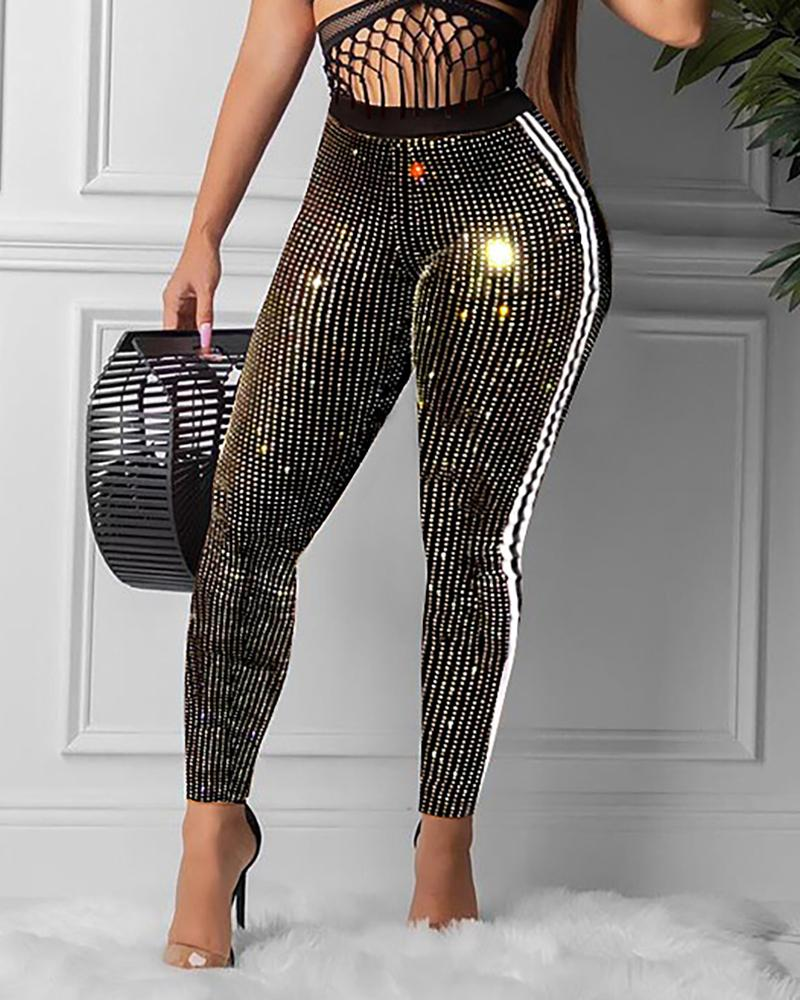 Striped Tape Sequins High Waist Pants
