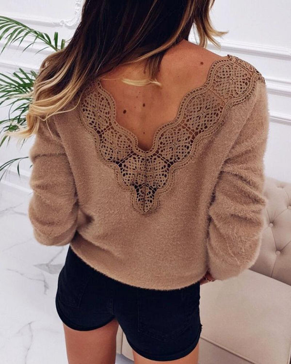 Fluffy Solid Patchwork Lace Backless Sweater