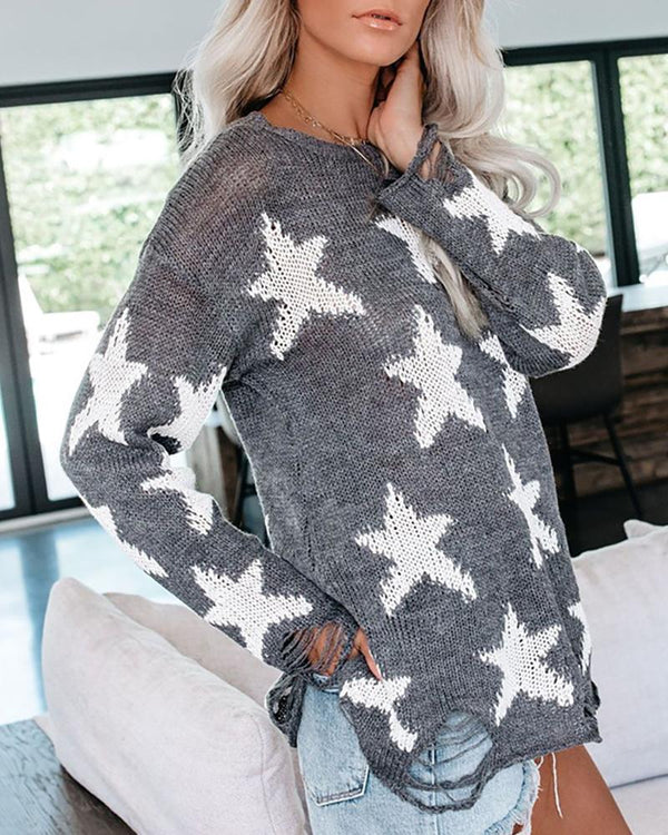 Star Print Long Sleeve Casual Sweater