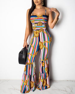 Print Striped Shirring Bell-Bottom Jumpsuit
