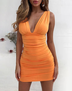 Plunge Open Back Ruched Bodycon Dress
