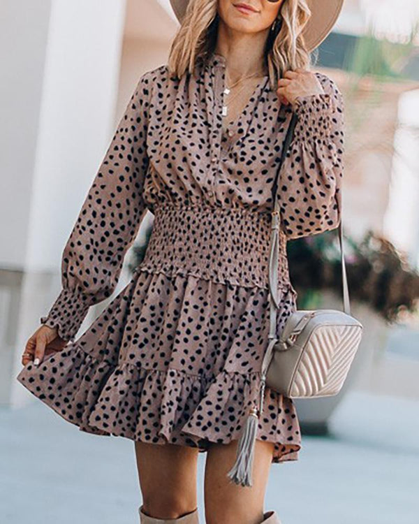 Polka Dot Lantern Sleeve Shirring Waist Ruffles Dress