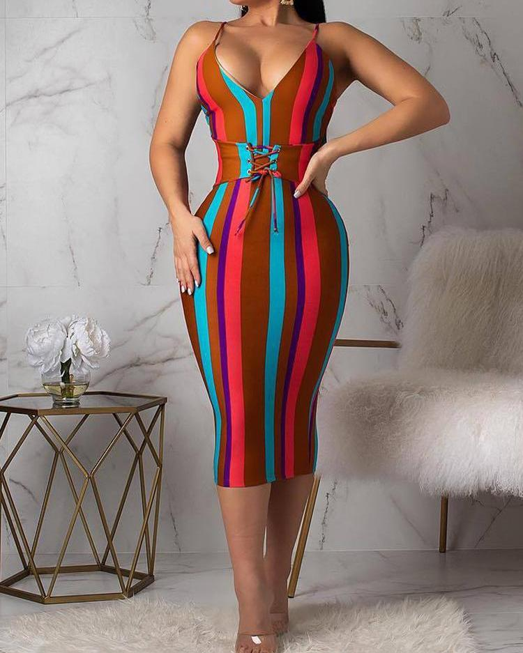 Multicolored Striped Lace-up Waist Bodycon Dress