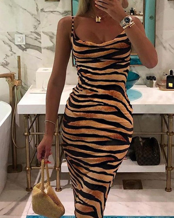 Plunge Neck Tiger Print Maxi Dress