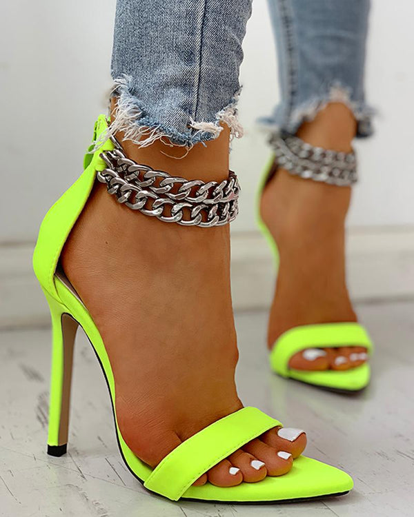 Chain Buckled Open Toe Thin Heeled Sandals