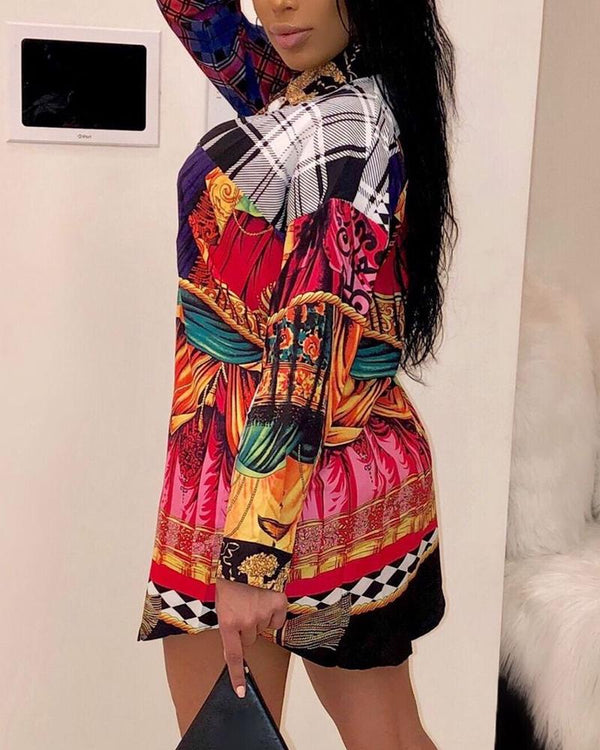 Mixed Print Colorblock Insert Shirt Dress